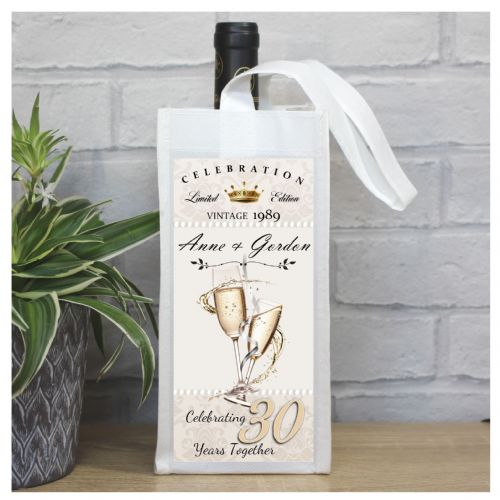 Personalised 30th Pearl  Wedding Anniversary Bottle Bag N57